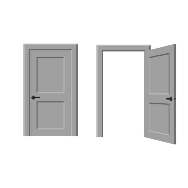 Печать Open and closed door door stock illustrations