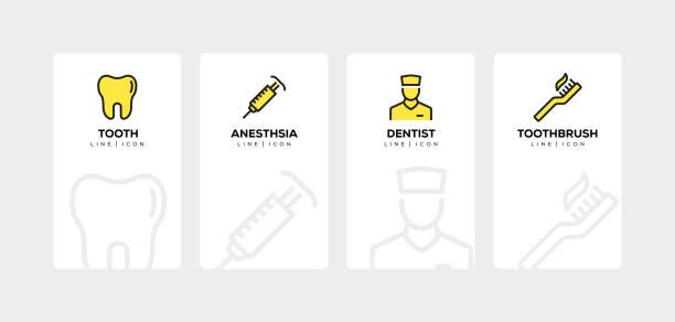 dental line icon set - zahnarzt logos stock-grafiken, -clipart, -cartoons und -symbole