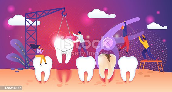 Unhealthy Tooth Removal Process. Guys Extraction Dent with Caries Hole. Man Set Up Healthy Tooth in Gum with Building Crane. Tiny People Characters Work Together Concept. Cartoon Vector Illustration