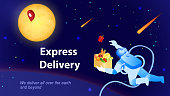 Astronaut Delivers Food Order. Express Delivery Concept. E-Commerce. Sales and Marketing. Global Shipping Service. Cosmonaut in Space. Advertising Banner Design. Isometric Vector EPS 10.