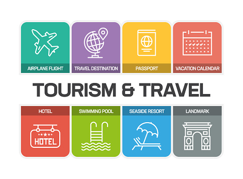 TOURISM AND TRAVEL LINE ICONS