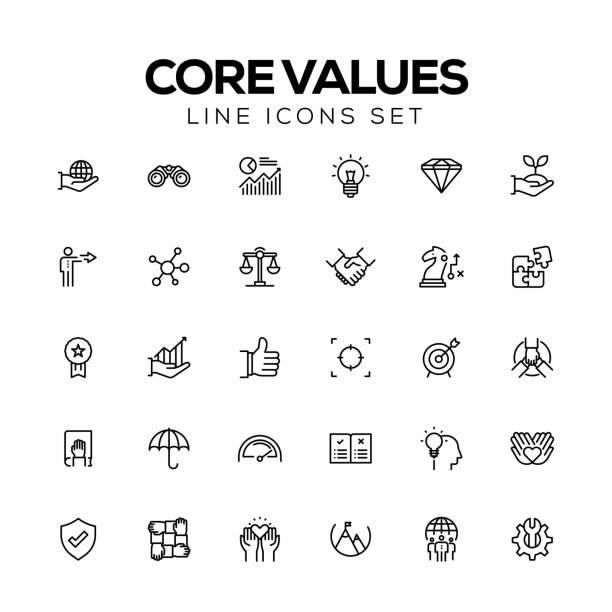 CORE VALUES LINE ICONS CORE VALUES LINE ICONS customs stock illustrations
