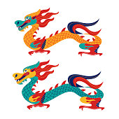 Chinese dragon. Chinese traditional vector illustration. Isolated on white background.