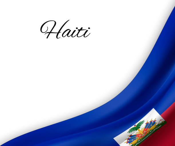 Основные RGB waving flag of Haiti on white background. Template for independence day. vector illustration haiti stock illustrations