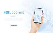 Vector Concept of Online Booking for Web Banner Design or Landing Page Template. Hand Holding Smartphone with Hotel offers icons on Screen. Mobile Application to choose Room on Digital Device