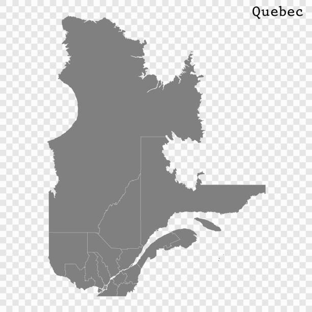 Для Интернета High Quality map of Quebec is a province of Canada, with borders of the counties quebec stock illustrations