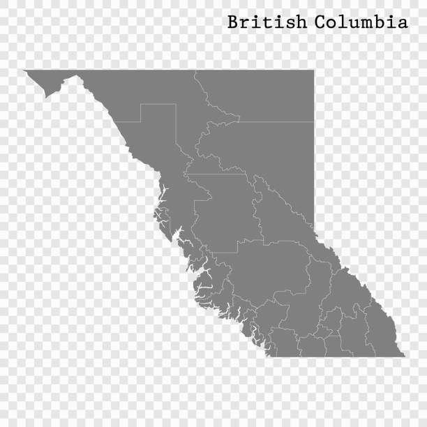 Для Интернета High Quality map of British Columbia is a province of Canada, with borders of the counties british columbia stock illustrations