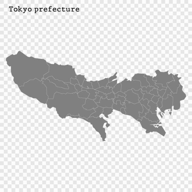 Для Интернета High Quality map of Tokyo is a prefecture of Japan with borders of the districts tokyo stock illustrations
