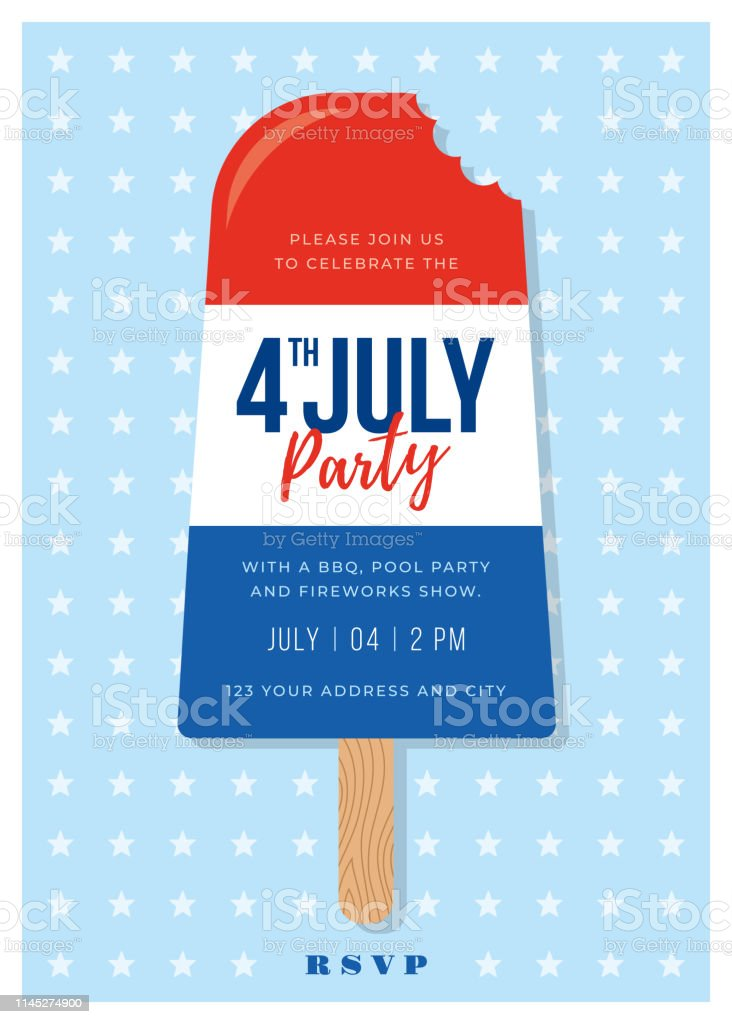 4th of July Invitation and blue Red Swim party July 4th Popsicle Invitation Patriotic BBQ Ice Lolly white Fireworks on Invitation