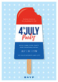 Patriotic Red White Blue Popsicles with 4th of July holiday Invitation.