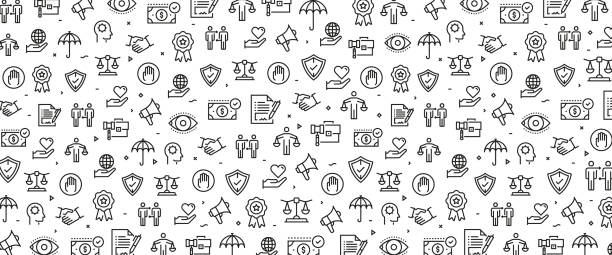 ilustraciones, imágenes clip art, dibujos animados e iconos de stock de ilustración vectorial de ética empresarial icono concepto - misión