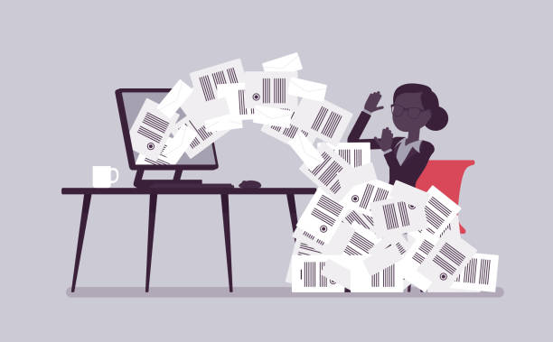 Иллюстрации_017 Paper avalanche for businesswoman. Female office worker overloaded with paperwork from computer, heap of business letters and online documents, busy clerk. Vector illustration with faceless characters avalanche stock illustrations