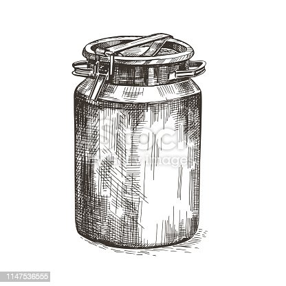 Vector image of milk can. Metal can in vintage style.