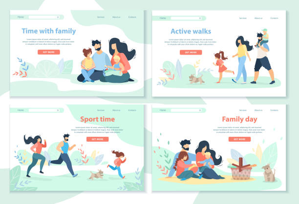 Для Интернета Family Day, Leisure, Sport Time, Active Walks Horizontal Banner Set. Happy People Spend Time Together. Mother, Father and Kids Healthy Lifestyle, Outdoor Activity. Cartoon Flat Vector Illustration happy family stock illustrations