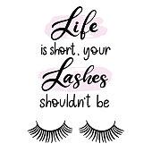 Lashes lettering vector illustration for beauty salon, fashion blog, icon, false eyelashes extensions maker, brow master, professional makeup artist. EPS10