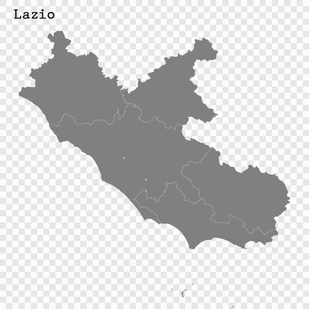 Для Интернета High Quality map of Lazio is a state of Italy, with borders of the districts lazio stock illustrations