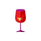 Wine glass vector illustration isolated on white background. Flat style design.
