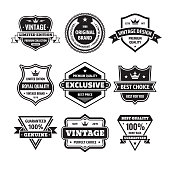 Business badges vector set in retro design style. Abstract emblem. Premium quality. Satisfaction guaranteed. Vintage style. Original brand. Limited edition. Exclusive. Best price. Black & white colors.