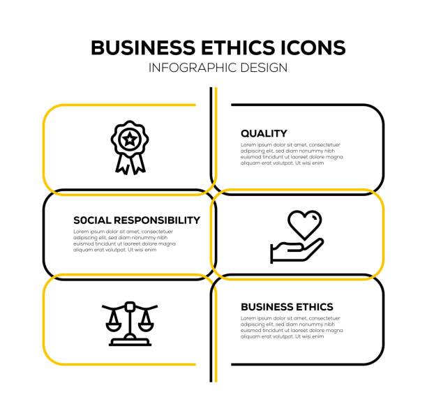 ilustraciones, imágenes clip art, dibujos animados e iconos de stock de ética empresarial icono conjunto - misión