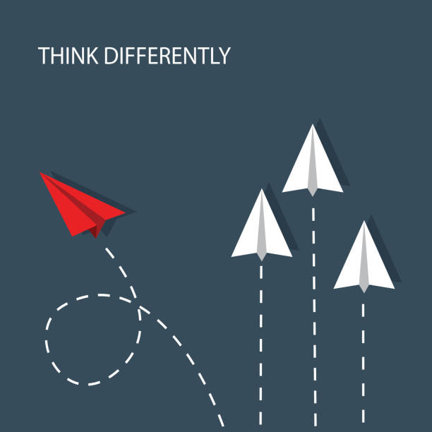 THINK DIFFERENTLY several white paper planes fly straight up and one red paper plane flies sideways and chooses another path transformation stock illustrations