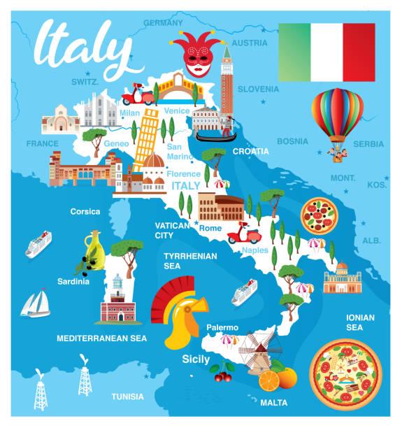 illustrazioni stock, clip art, cartoni animati e icone di tendenza di mappa dei cartoni animati d'italia - sardegna