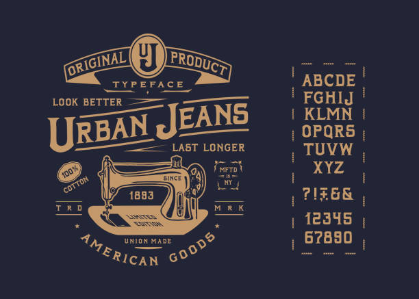 font urban jeans - alphabet patterns stock illustrations