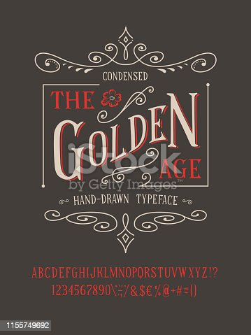 THE GOLDEN AGE FONT. Old retro typeface design. Hand made type alphabet. Authentic letters, numbers, punctuation. Script art for fashion apparel t shirt print graphic vintage vector badge label