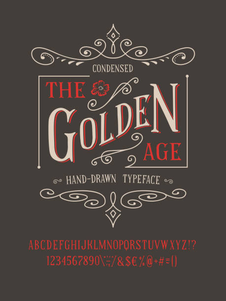 THE GOLDEN AGE FONT THE GOLDEN AGE FONT. Old retro typeface design. Hand made type alphabet. Authentic letters, numbers, punctuation. Script art for fashion apparel t shirt print graphic vintage vector badge label alphabet borders stock illustrations