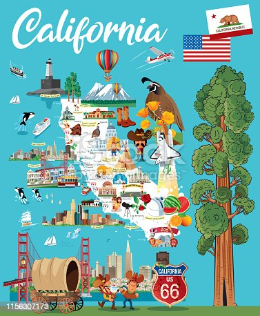 Vector CALIFORNIA CARTOON MAP http://legacy.lib.utexas.edu/maps/us_2001/california_ref_2001.jpg