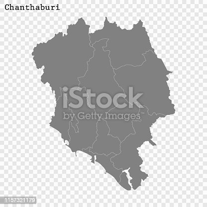 High Quality map of Chanthaburi is a province of Thailand, with borders of the districts