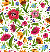 Vector seamless flower pattern. Cute floral pattern with colorful flowers, berry, leaves. White background. Elegant template for fashion prints. Bright, warm summer pattern.