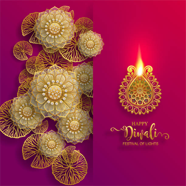 025 Diwali, Deepavali or Dipavali the festival of lights india with gold diya patterned and crystals on paper color Background. diwali stock illustrations