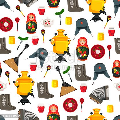Russia items set souvenirs. Seamless pattern with winter hat samovar, cucumber and balalaika. Borshch with sour cream isolated on vector illustration