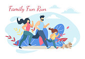Happy Family Run Fun Sport Activity. Mother, Father and Kid Exercising, Running in Raw in Park at Morning. Dad, Mom, Daughter and Dog Fitness Healthy Lifestyle Cartoon Flat Vector Illustration, Banner