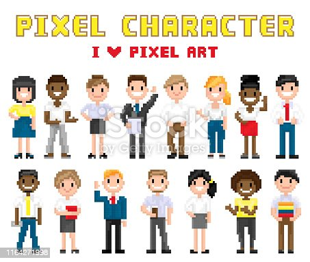 Pixel characters I love art. Isolated icons vector, poster with people smiling and waving hand friendly, 8 bit group of men and women, boy and girls