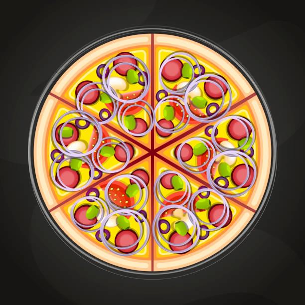 Sliced Ham And Pineapple Hawaiian Pizza Illustrations ...