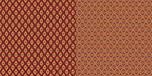 bildbanksillustrationer, clip art samt tecknat material och ikoner med pattern_set_seamless_geometric_mini_circles_print_coordinated_brown_maroon_background - hui style