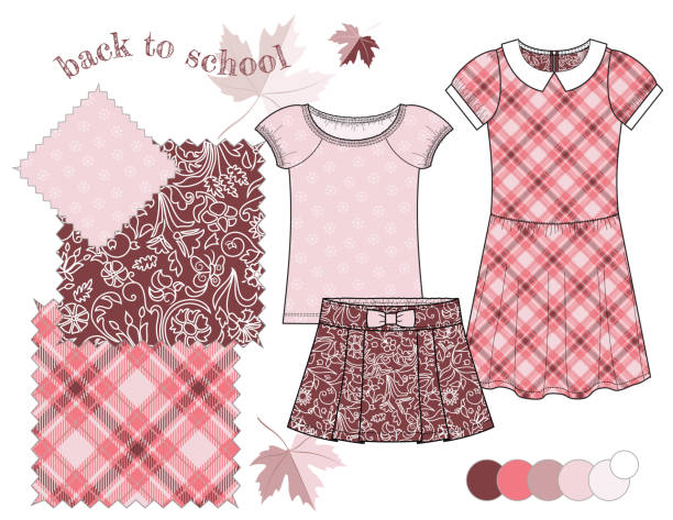 bildbanksillustrationer, clip art samt tecknat material och ikoner med girl_back_to_school_fashion_illustration_pattern_set_maroon_pink_plaid_floral_background - hui style