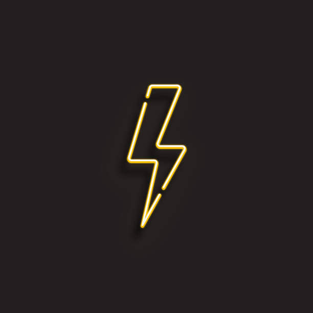 stockillustraties, clipart, cartoons en iconen met elektriciteit icon-neon stijl - onweersbui