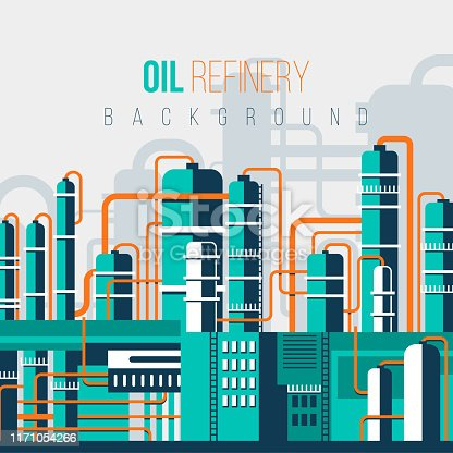 FLAT OIL REFINERY ILLUSTRATION BACKGROUND WITH COLOR