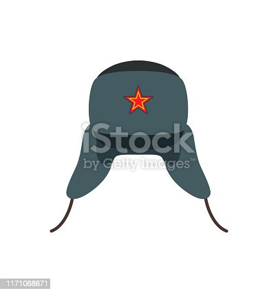 Russian traditional woolen hat. Warm clothing in cold winter season. Headwear with red star symbolizing communist, icon party vector illustration