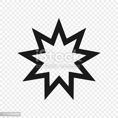 Nine pointed star - Symbol of Bahai Faith / Bahaism. Vector illustration . Template for your design