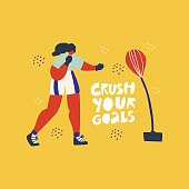 Boxing with punching bag hand drawn illustration. Crush your goals vector scandinavian style lettering. Sportswoman, boxer cartoon character with motivating quote. Poster, banner design