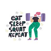 Woman squat with barbell hand drawn illustration. Eat sleep squat repeat vector scandinavian style lettering. Female bodybuilder cartoon character with sport motivation ink brush quote. Poster design