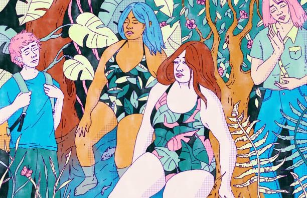illustrazioni stock, clip art, cartoni animati e icone di tendenza di forest bathing - forest bathing