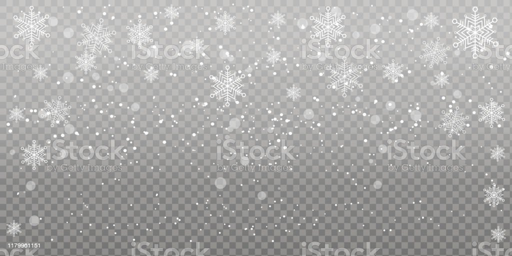 Печать Heavy snowfall, snowflakes in different shapes and forms. Falling snowflakes on dark background. Snowfall. Vector illustration. Abstract stock vector