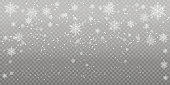 Heavy snowfall, snowflakes in different shapes and forms. Falling snowflakes on dark background. Snowfall. Vector illustration.