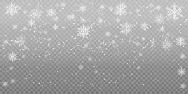 Печать Heavy snowfall, snowflakes in different shapes and forms. Falling snowflakes on dark background. Snowfall. Vector illustration. multi layered effect stock illustrations
