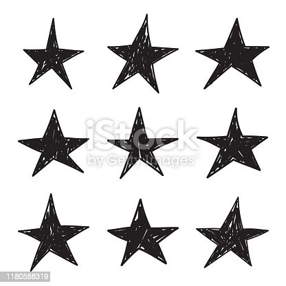Set of black hand drawn star. Vector collection of unevenly painted stars.