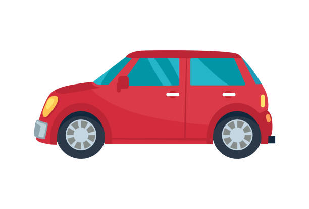 Безымянный-4 Red compact hatchback vehicle with blue small windows and yellow headlamps. Vector illustration of car isolated on white background hatchback stock illustrations